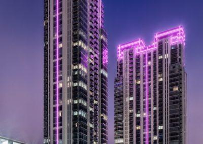 Контурная подсветка здания светодиодными трубками